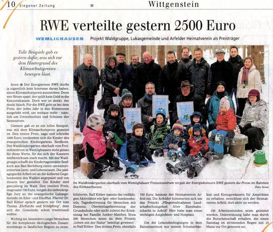 Pressebericht Klimaschutzpreis 2012 Siegener