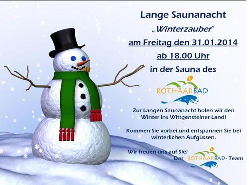 Plakat Lange Saunanacht Januar 2014